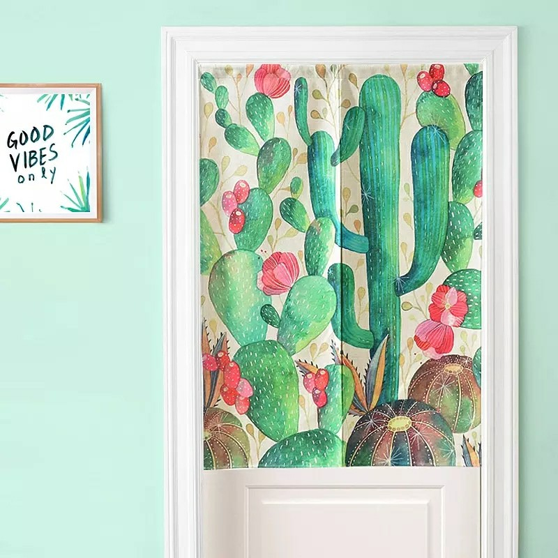 Creative fresh cactus curtain curtain bedroom bathroom cabinets thick cotton curtain can be customized