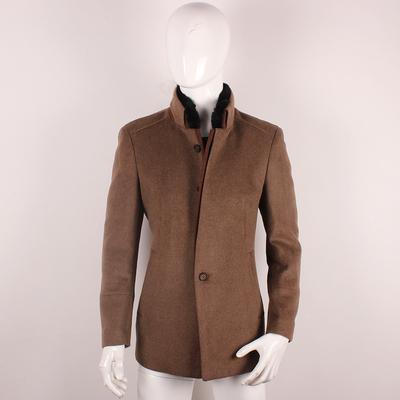 冬季新款 洛Z70%羊毛兔毛领 时尚中长款男式毛呢大衣吊牌价3680元原单