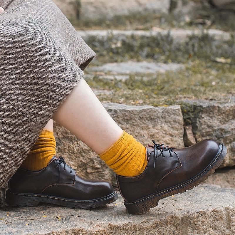 半島鞋屋 chic英倫ins軟妹小皮鞋加絨原宿馬丁鞋低幫復古學院風女