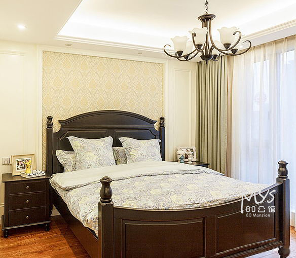 80 mansion, American solid wood pillar bed, double bed, Nordic fine bed, new classical marriage bed, air pressure box