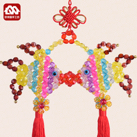 Handmade Beaded Chinese knot, fish pendant material package, DIY home decoration beads weaving handicraft production