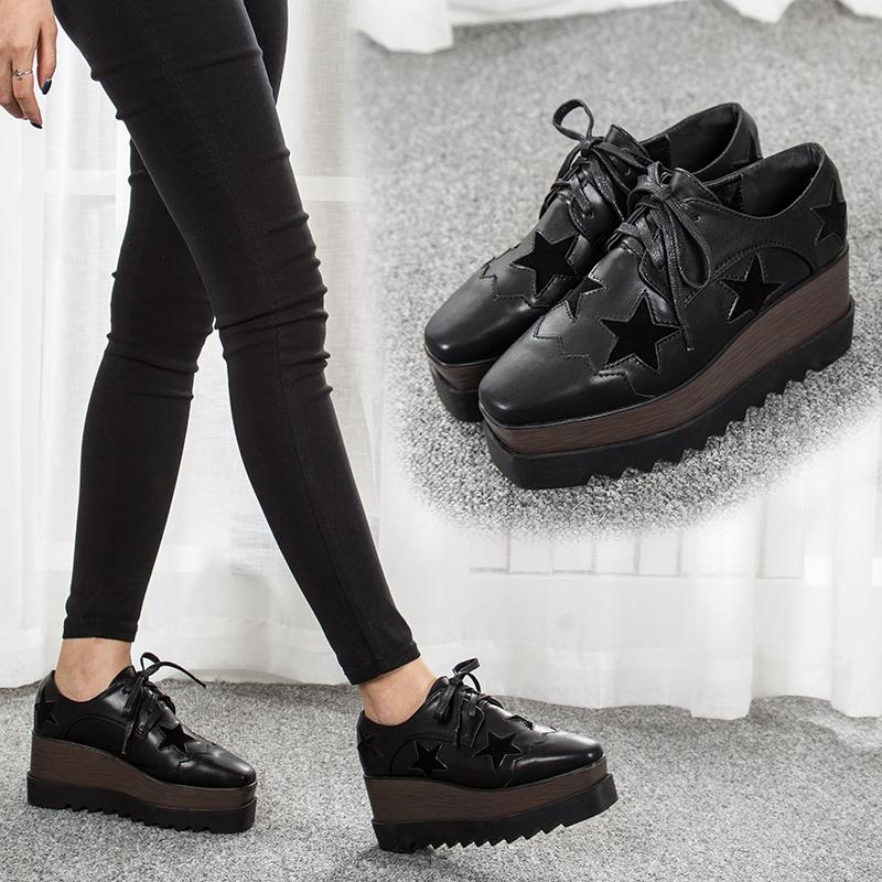 星星松糕鞋女厚底2017秋冬新款韩版方头坡跟厚底单鞋增高黑色休闲