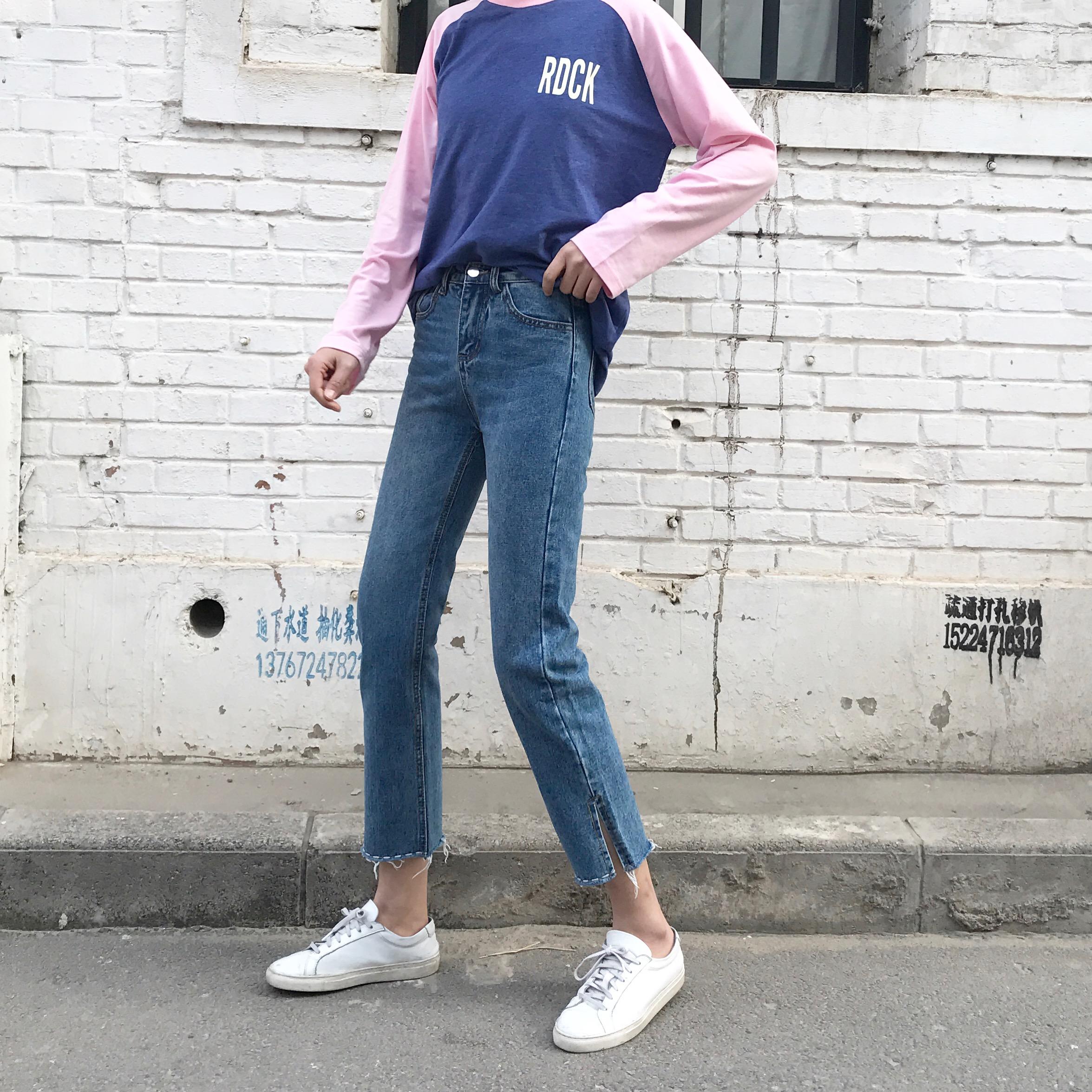 实拍 2017韩版新款虚线刺绣宽松直筒高腰开叉牛仔裤女