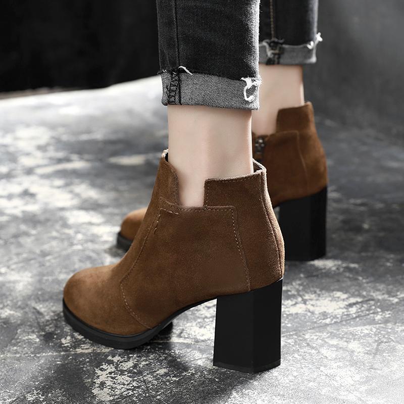 2017秋冬季新款短靴女高跟粗跟女鞋百搭英伦风马丁靴真皮女靴子潮