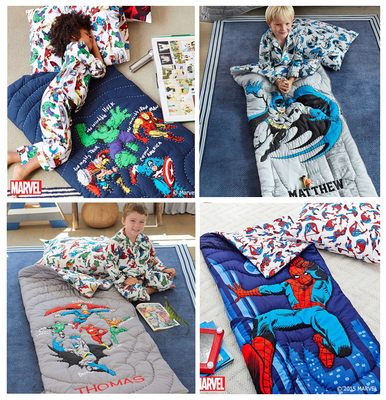 Warm clearance Spider-man superhero Avengers big kids kick-proof warm sleeping bag 4-12 years old embroidered words