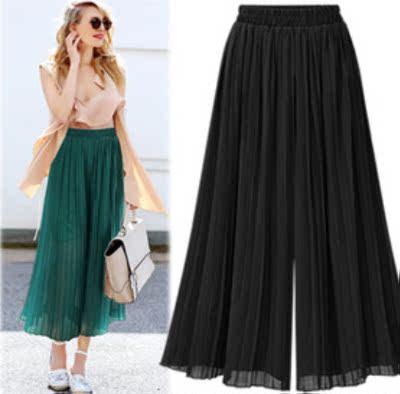 7201#速卖通Ebay欧美风 网纱雪纺半身裤裙中长款纯色压折大摆裤裙