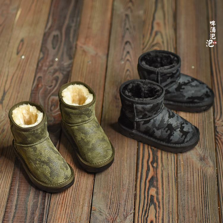 童鞋儿童雪地靴女童冬季靴子宝宝棉鞋加厚男童棉鞋轻猪皮迷彩短靴