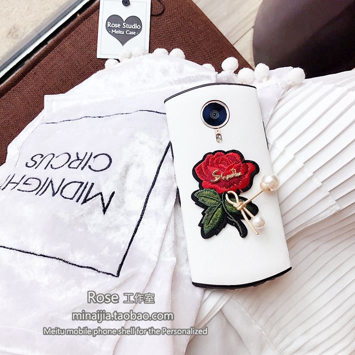 Original concise embroidery, rose binding wire, pearl beauty figure M4V4/M6/M6s, protection soft sleeve M8/T8 mobile phone shell