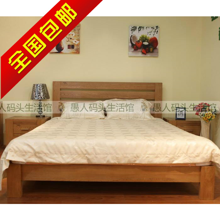[fool wharf] Europe selling all solid wood furniture, white oak double bed 1.8 meters SK-ZSRC