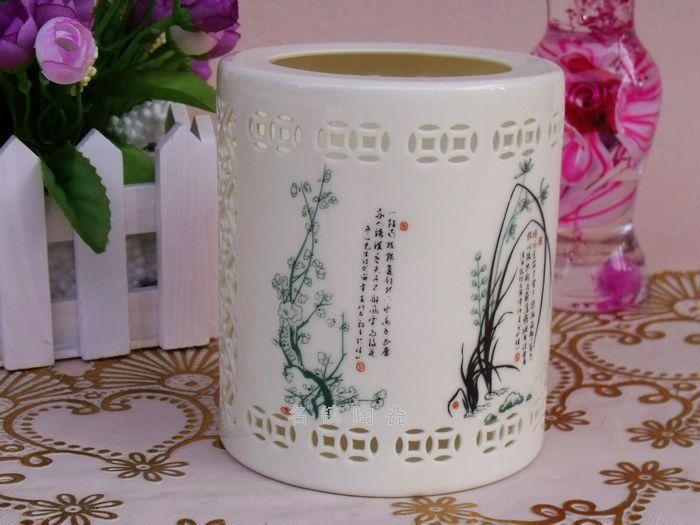 景德鎮 陶瓷高檔鏤空筆筒(大號)