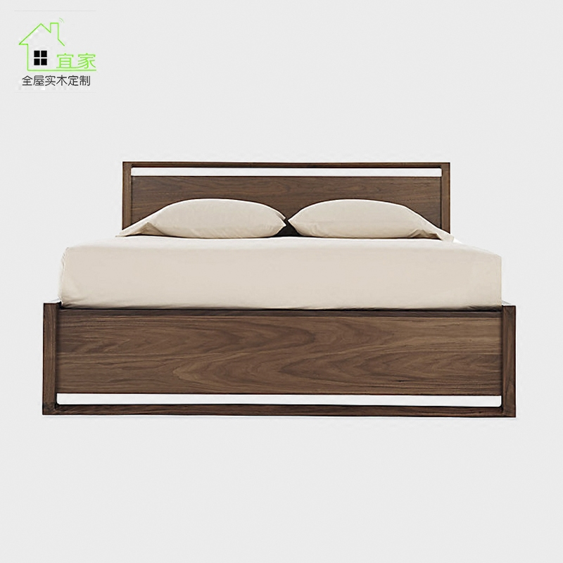 Mail original Nordic style Japanese style, all solid wood bed black walnut double bed modern new Chinese Box Drawer Bed