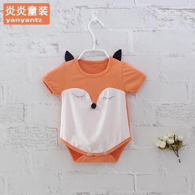 男女小宝宝夏季连体衣三角爬服新生满月婴儿1短袖哈衣2-3-5-6-8月