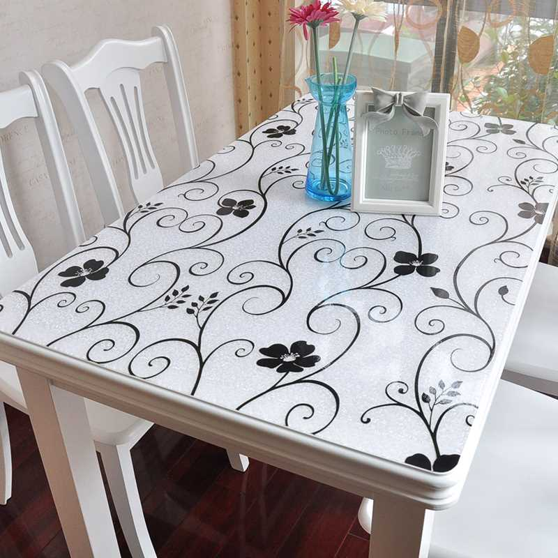 Custom PVC soft rubber matte transparent crystal plate glass cloth pad desktop placemats cushion table