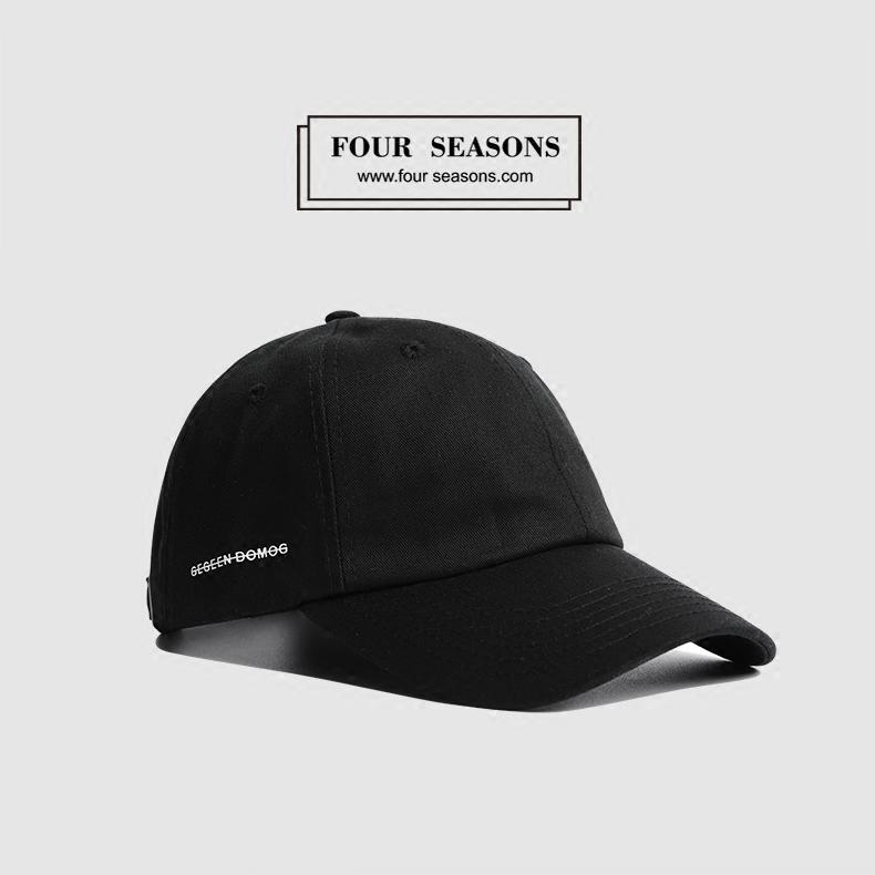 黑色可調節春新款棒球帽男韓版潮牌側面字母嘻哈運動原宿遮陽彎檐棒球帽子女