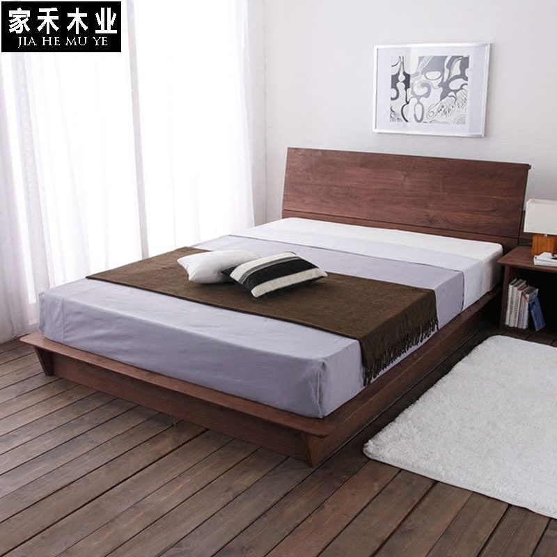 Nordic wood bed black walnut bed 1.8 meters double bed bed bed main simple modern Japanese large-sized apartment