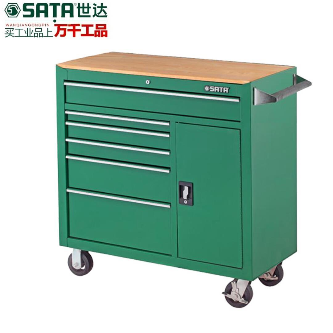 Sata hardware toolbox function 8 drawer with a large iron wheel vehicle cabinet parts box 95109