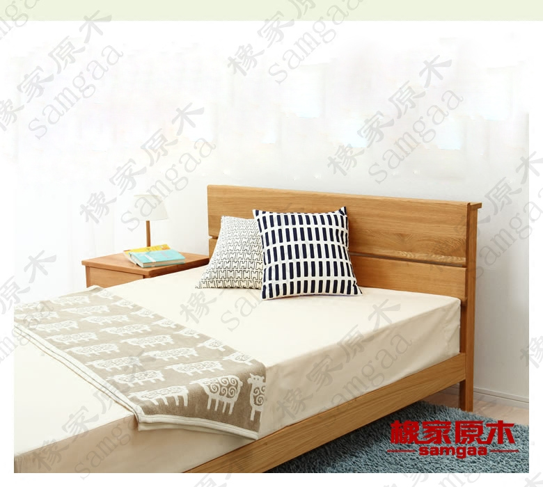 Japanese Nordic customizable oak walnut double small family solid wood bed 1.8 m CC-09