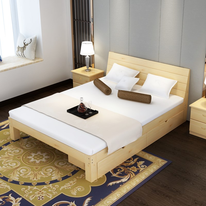 A simple pine wood bed double bed 1.5 meters 1.8 meters 1 meters 1.2 meters children bed simple single bed