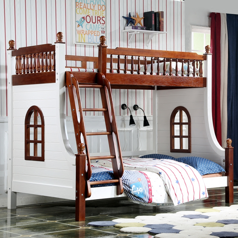 All solid wood American boys and girls double up and down the Mediterranean walnut stair climbing window bed powder coffee environmental protection