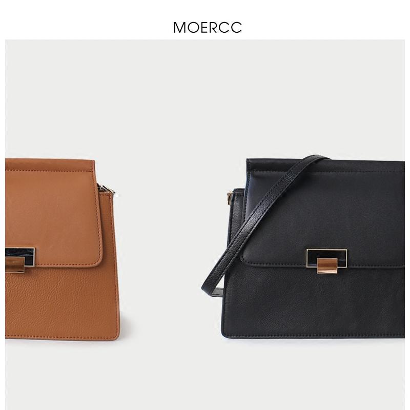 黑色moercc2018新款簡約斜挎包韓版小方包百搭女包鎖扣通勤牛皮單肩包