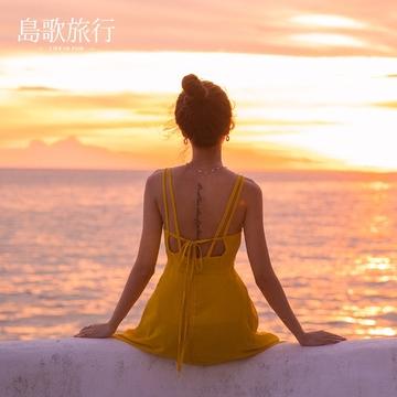 2017露背雪纺无袖修身吊带连衣裙海边渡假波西米亚长裙子海滩裙女