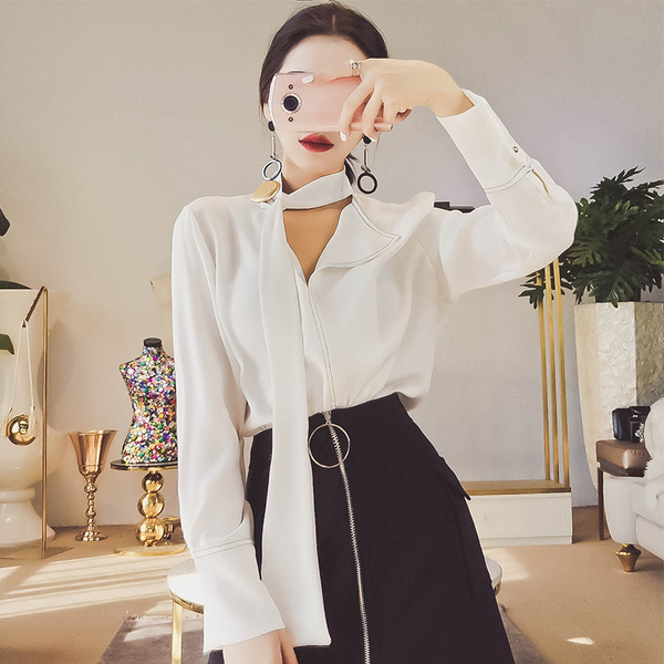 MISS FLY2017 autumn new women's Korean version of the loose loose hedge long sleeves shirt