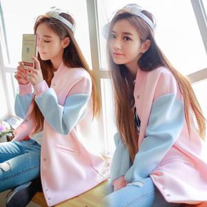 805# 2016韩版学生大码宽松长袖外套中长款加绒棒球服开衫春秋装