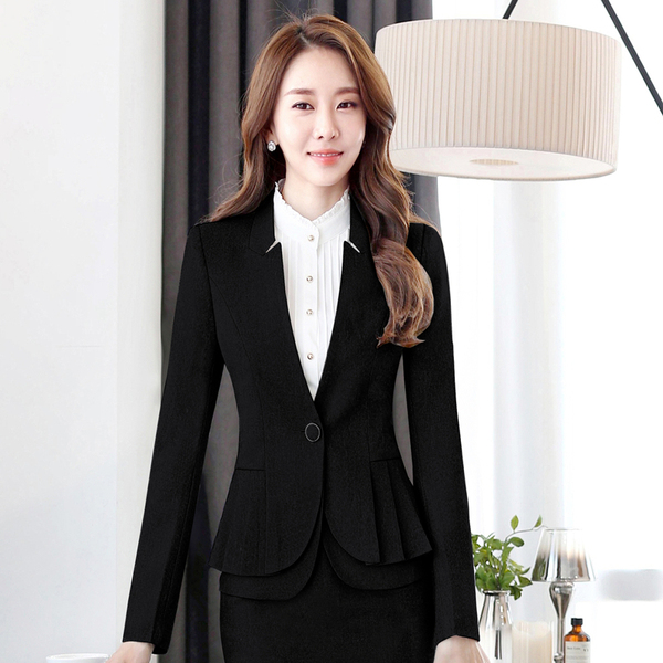 Spring and Autumn OL professional wear long-sleeved suit suit temperament Slim manager interview dress three-piece suit