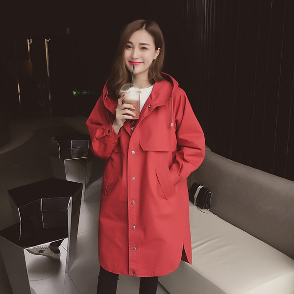 2017 spring new Korean version of the loose was thin hooded drawstring long coat long-sleeved blouse