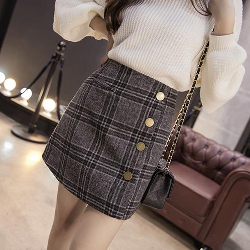 高腰裙包臀修身秋冬字裙短裙加厚格子毛呢拼接
