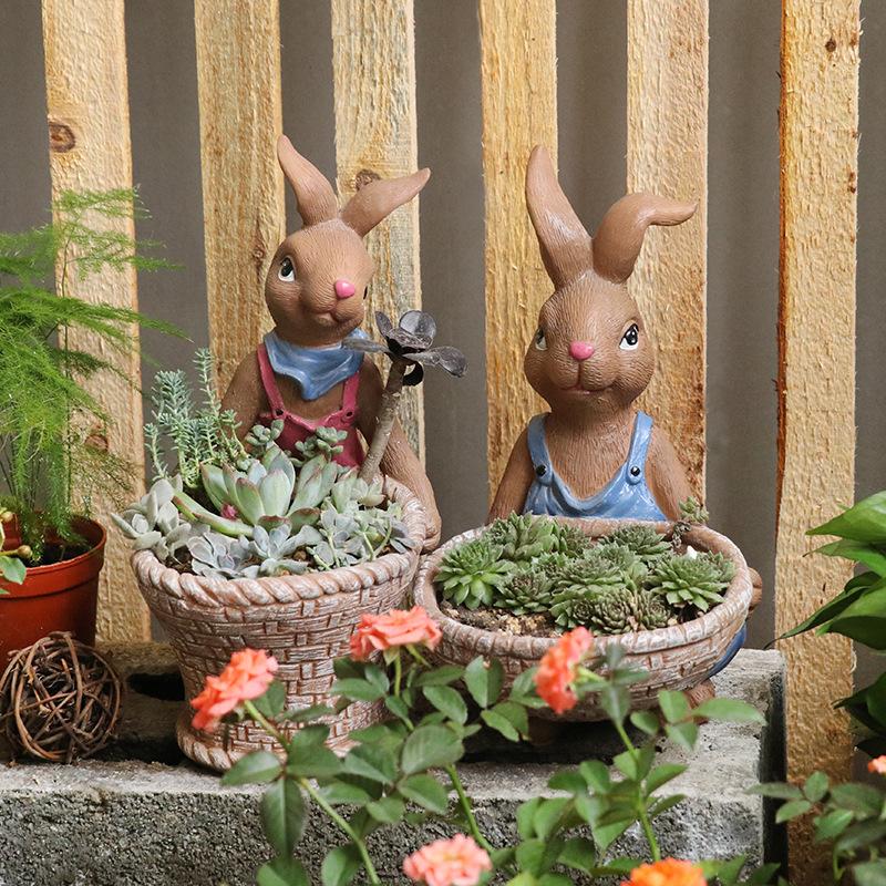 森系小兔子萌萌哒可爱多肉花盆-多肉花盆网
