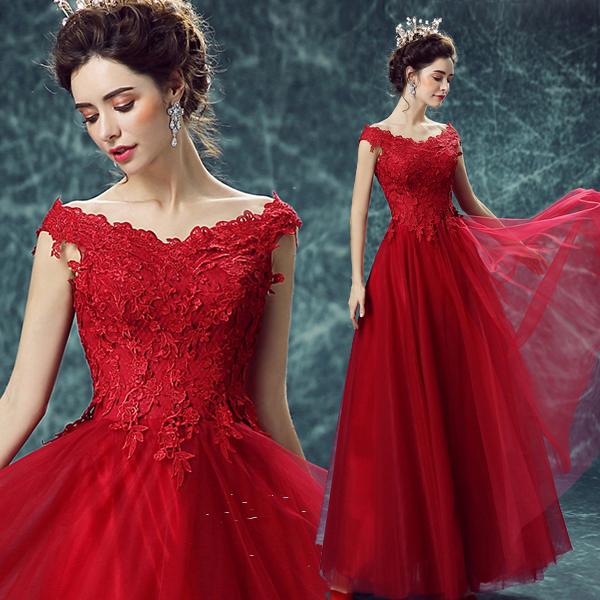 酒红色蕾丝一字肩公主新娘结婚敬酒服晚宴年会演出婚纱礼服0251