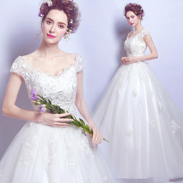 奢华蕾丝花朵性感一字肩公主新娘修身齐地婚纱礼服2016新款2556