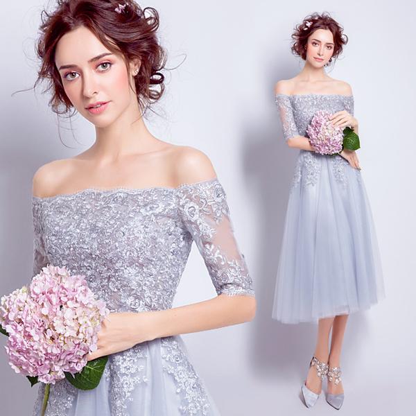 银灰色蕾丝一字肩短袖伴娘服新娘晚宴年会婚礼短款婚纱小礼服6878