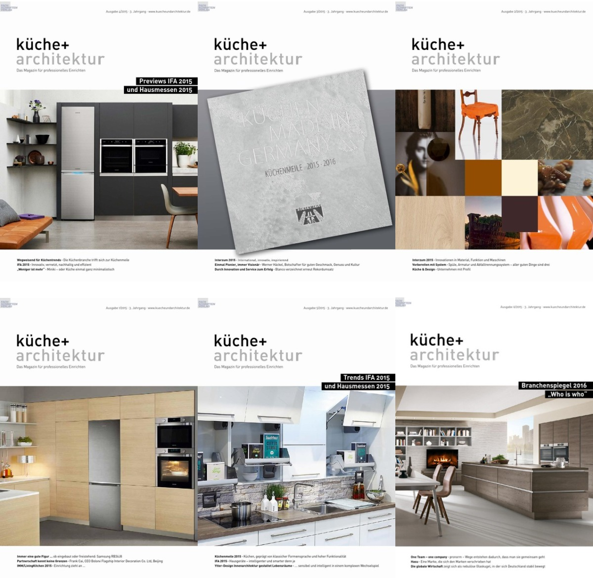 Küche & Architektur 德国厨房设计 2015年全集(6本)