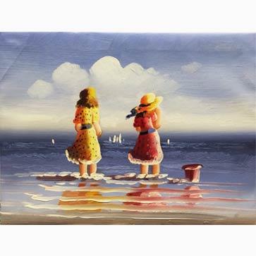 海边小女孩 手绘油画装饰画-壹家画廊