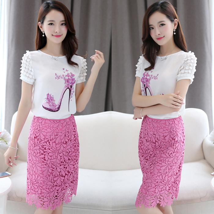 夏季女装连衣裙中裙印花雪纺衫短袖两件套显瘦蕾丝包臀裙裙子套装