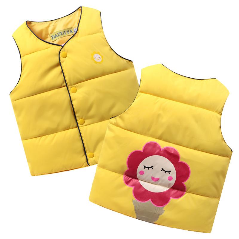 儿童秋冬装羽绒棉马甲背心 男童女童宝宝保暖卡通马夹