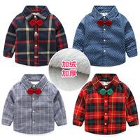 Детские на мальчика сорочка замшевый Зимняя одежда 2020 новая коллекция детское утепленный длинный рукав клетчатый рубашка tx-6336