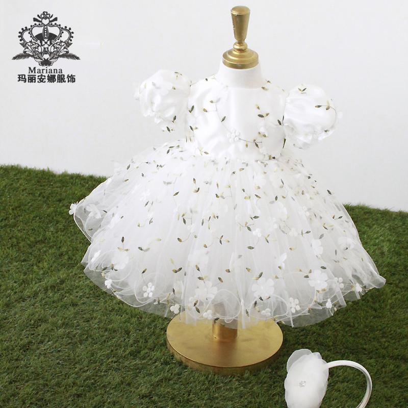 Ba chiều thêu trẻ em bong bóng váy ngắn tay váy cưới váy công chúa váy lớn váy fluffy váy sinh nhật váy - Váy trẻ em