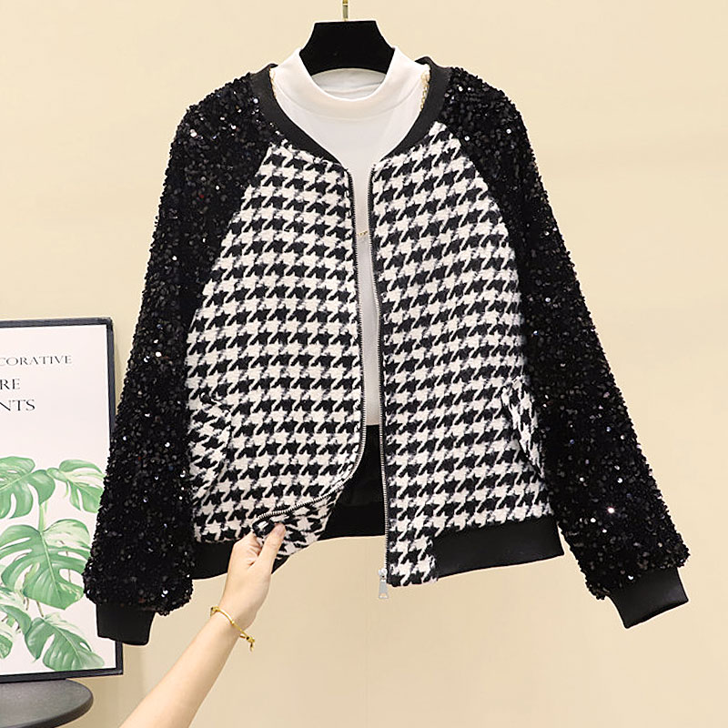 New heavy industry Sequin patchwork loose and thin round neck Baseball Jacket
