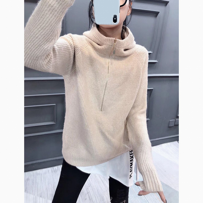 T-shirt, sweater, womens Hoodie, loose half zipper Pullover for autumn and winter, new Europe 2020