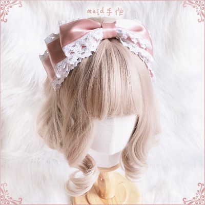 42agent [Multicolor] maid original hand made pink lace kc hair band lolita daily elegant bow universal - Taobao
