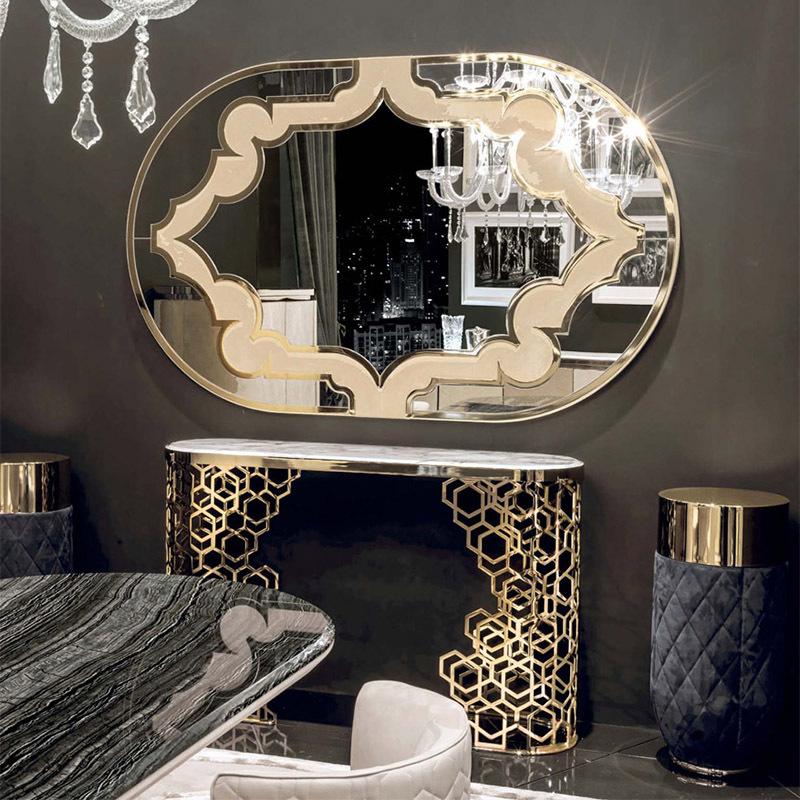 Ánh sáng sang trọng bằng đá cẩm thạch hiên bàn mô hình phòng khách phòng khách sạn sảnh bằng thép không gỉ lối vào hiên bàn đơn giản - Bàn / Bàn