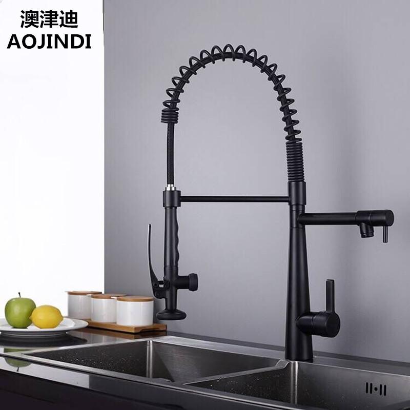 德国AOJINDI厨房抽拉龙头全铜洗菜盆冷热水龙头 双出水水槽龙头