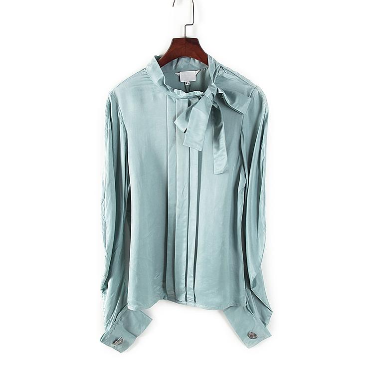 Li loạt quần áo mùa xuân và mùa hè rút tủ phụ nữ màu hồng xanh nơ thắt nơ OL kiểu áo thanh lịch 77508 - Áo sơ mi dài tay
