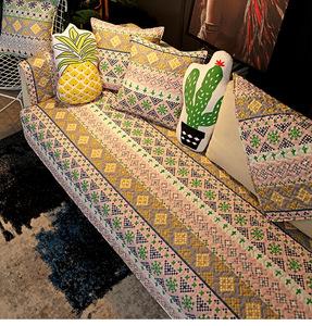 夏季全棉居家沙发坐垫北欧抽象布艺沙发套 扶手靠背巾防滑沙发垫