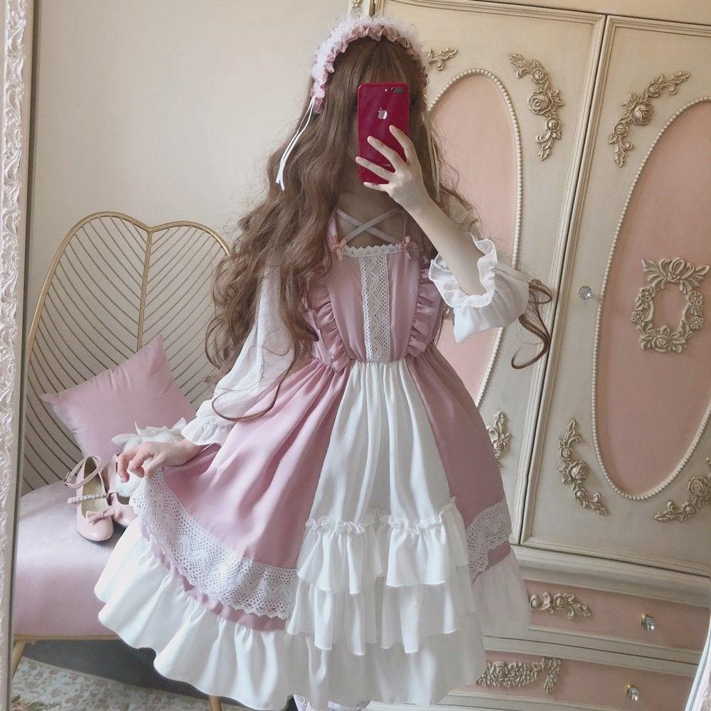 暗黑少女洛丽塔泡泡袖黑色绑带层层复古蛋糕连衣裙高腰显瘦小洋裙
