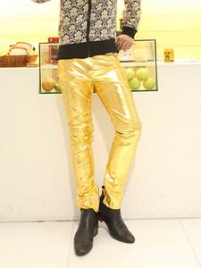[Đặc biệt hàng ngày] hộp đêm người đàn ông sexy của vàng da khiêu vũ quần cá tính trang phục bạc quần da của nam giới