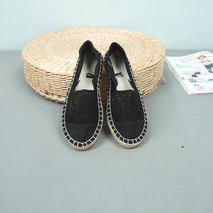 Cỏ dệt linen dưới ren móc hoa hollow lười biếng canvas giày của phụ nữ giúp đỡ thấp ngư dân giày phẳng 4
